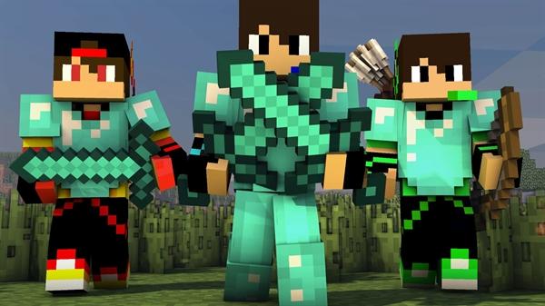 Fanfic / Fanfiction As aventuras dos três amigos do Minecraft (fanfic 1)