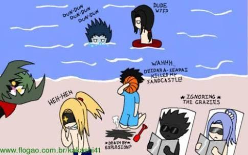 Fanfic / Fanfiction Akatsuki na praia - Capítulo 2 - A praia