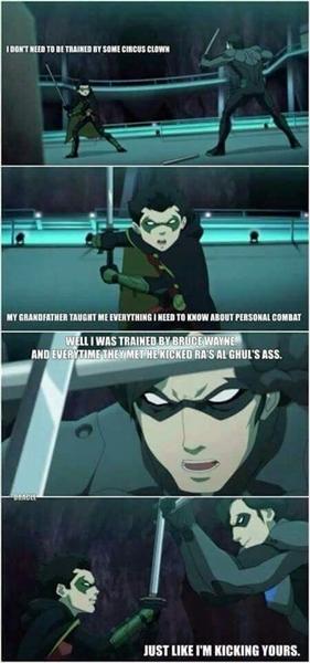 Fanfic / Fanfiction Justiça jovem 3. - Capítulo 7 - Asa Sombria vs Dick Grayson,o Batman of Darkness. Parte 1.